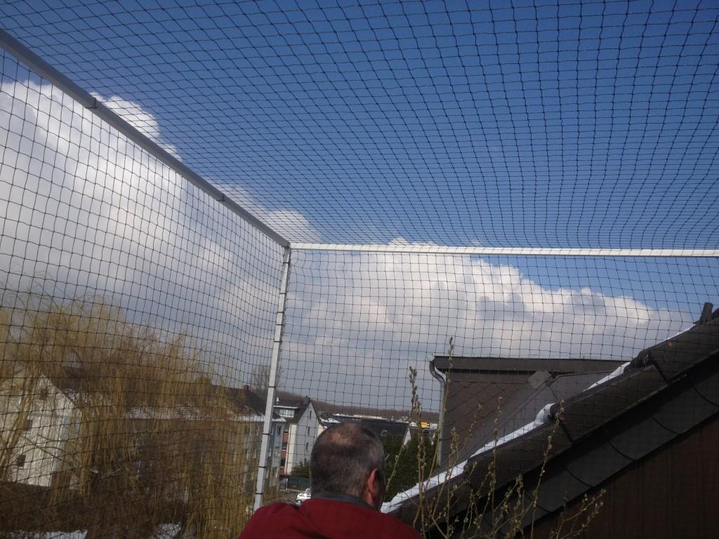 Dachbalkon in Dormagen mit katzennetz