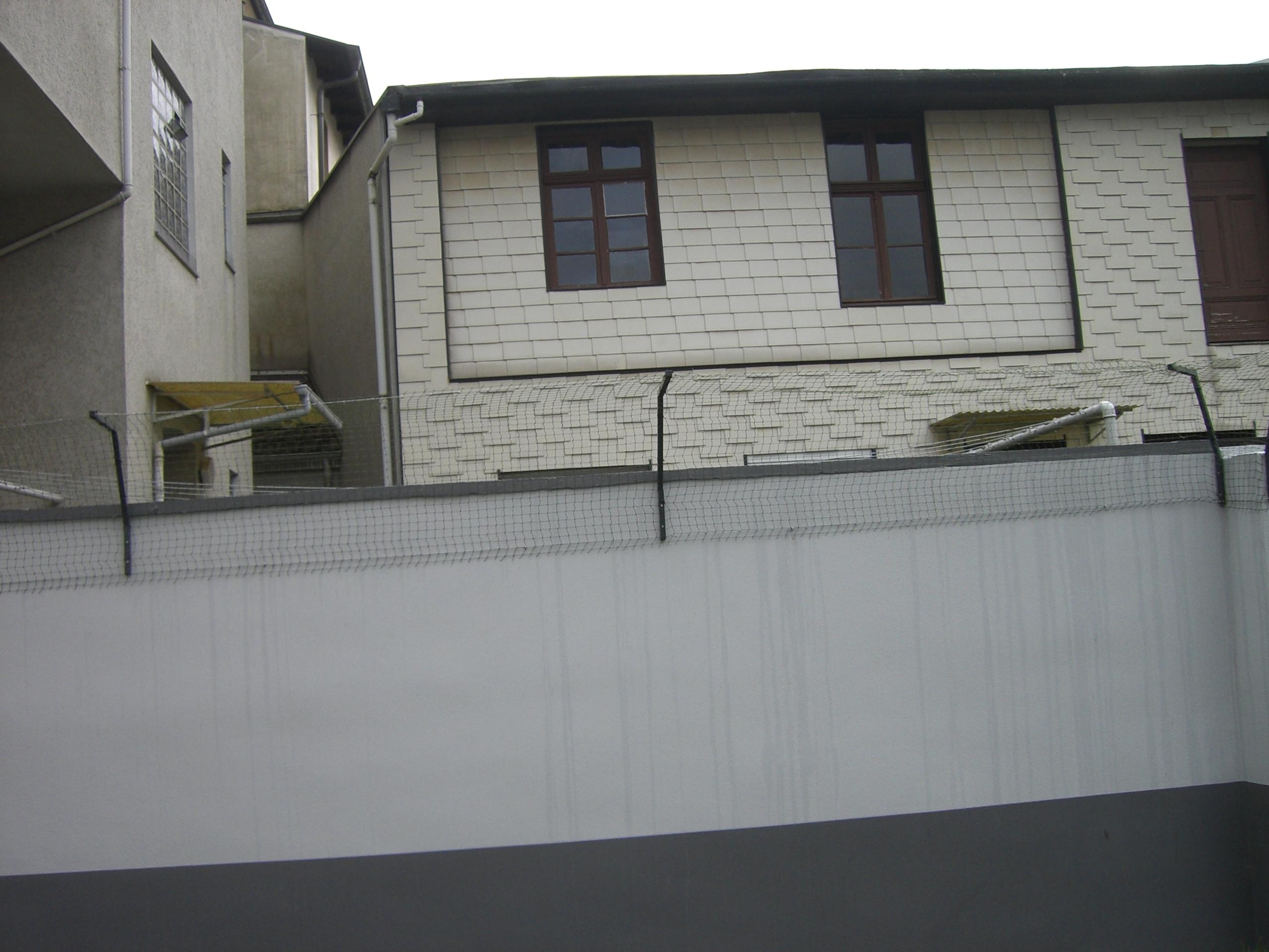 doppelter berkletterschutz an mauer katzennetze nrw der katzennetz profi. Black Bedroom Furniture Sets. Home Design Ideas
