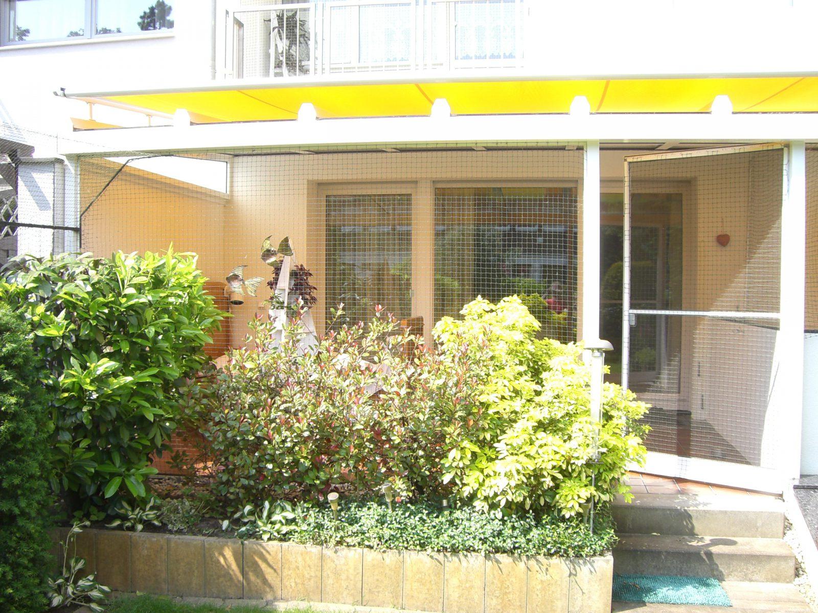Terrasse mit Tür katzensicher