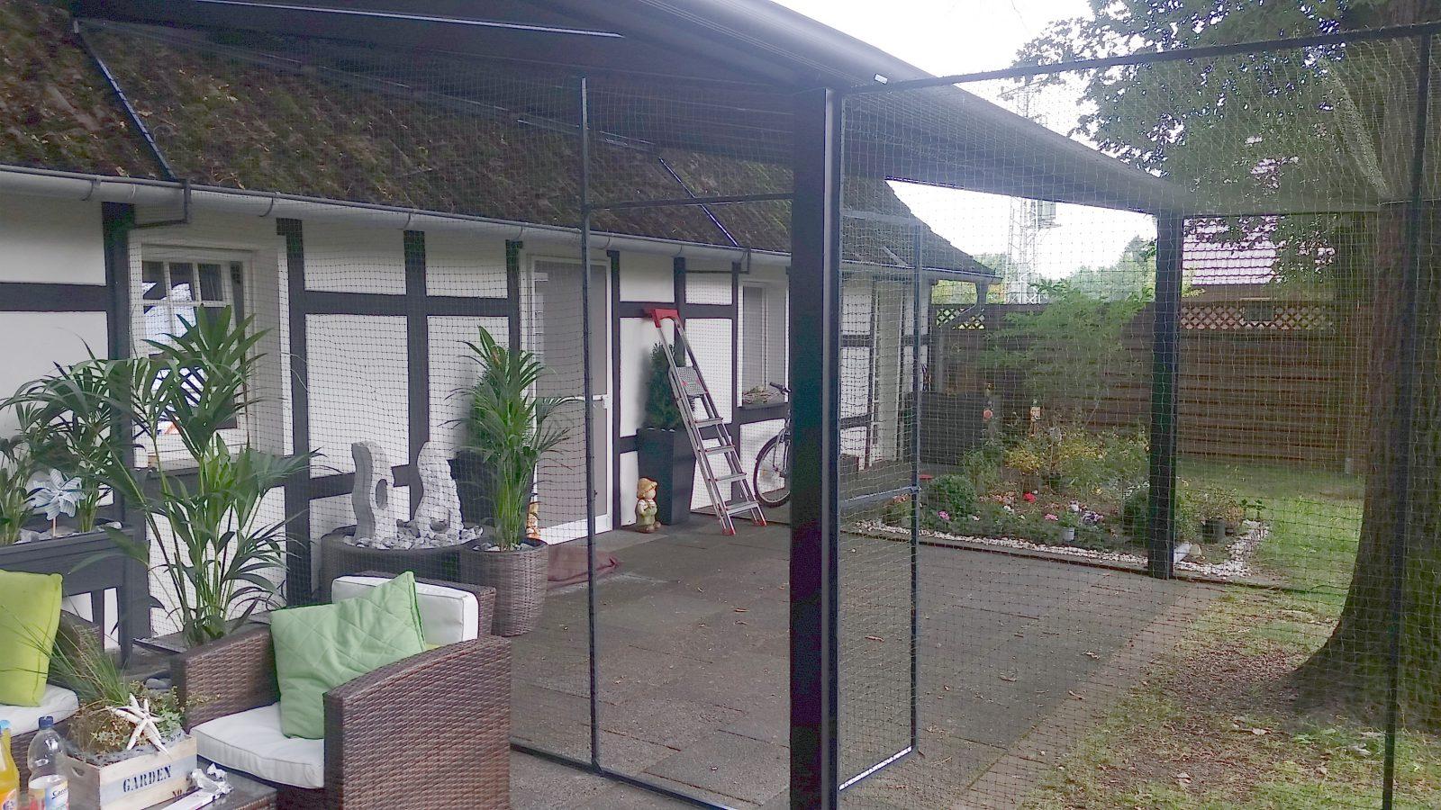 Katzennetz System für Garten und Terrasse mit Tür