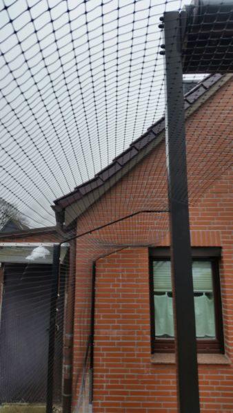 Garten Terrasse Katzennetz mit doppelten Ueberkletterschutz