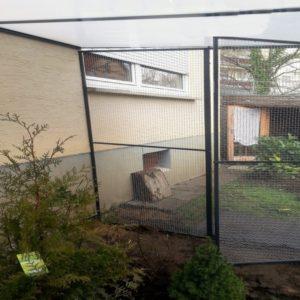 Katzengehege mit Türrahmen