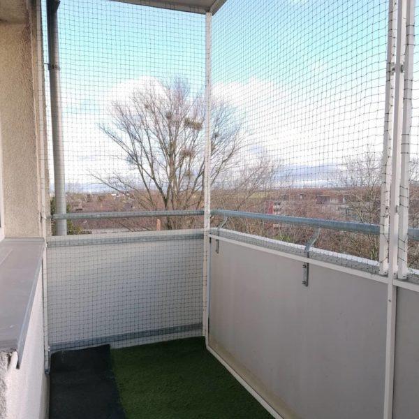Katzennetz Balkon Fronseite schiebend öffnend